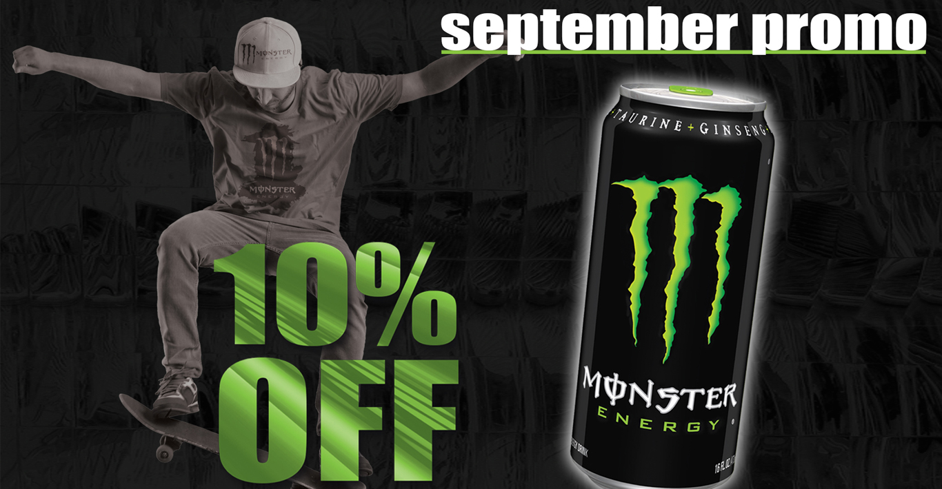 10% Off Monster Energy Drinks